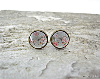 Floral Earrings, Flower Earrings, Floral Stud Earrings, Antique Earrings, Silver Earrings, Spring Jewelry, Floral Images Earring, Pattern 1