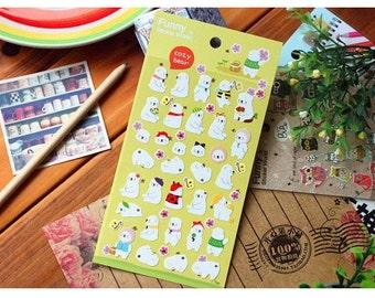 Cute Kawaii Korean COZY BEAR Polar Bear Scrapbooking Decor Stickers