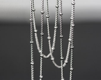 1167_Silver plated chain, Silver flattened curb ball chain, Jewelry chain, Ball chain, Chain for pendant, Chain for jewelry making, 1 m