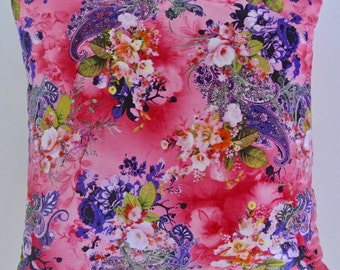 """Beautiful Pink Floral Patterned Cushion 18x18"""""""