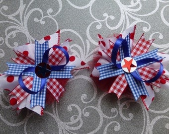 Set of 2 hair bows. Twins, best friends, pigtails. Red, white, and blue. American, patriotic, fourth of July, 4th, polka dots. Stacked bow.