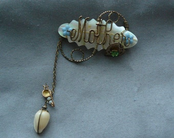 Vintage Mother brooch, Pin made with shells, pearl, and brass