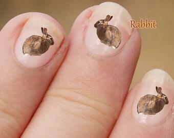 Bunny Rabbit wild animal Nail Art Stickers, Rabbit Nail Art, Nail Decals, Rabbit Decal, Bunny Stickers, Bunny Decal, fingernail art