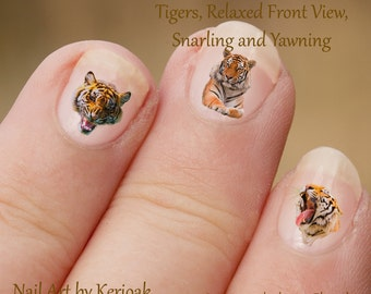 Tiger nail art | Etsy