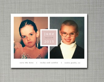 Nostalgic Save The Date post card with personalize photos and post card back design.