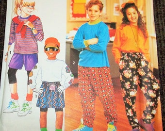 Vintage 1991 Simplicity 7480 Sewing Pattern Boy's and Girl's Pants or Shorts and Knit Top, Size A Sm - Lg