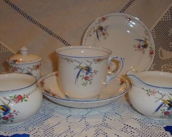 Vintage Tea For One Tea Set Bird Of Paradise Lenox China, Hand Painted