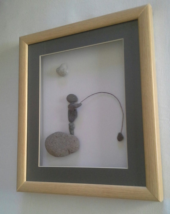 Items similar to gifts for him fly fishing pebble art for Fishing gifts for him