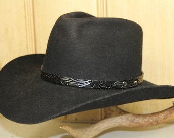 Tooled Leather Cowboy Hat Band