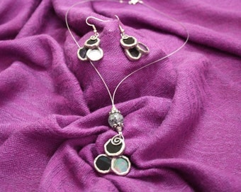 Hand made stained glass jewelry- Set of earrings and necklace