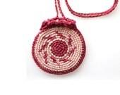 Crochet Drawstring Mirror Holder,magenta pouch, geometric pattern, crochet bag, mini pendant, necklace wallet, totem saver,tribal purse,bag