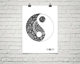 Yin and Yang Mandala Poster