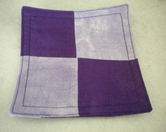 Mix 'n' match purple drink coaster. Fully washable cotton fabric. Fun and practical.