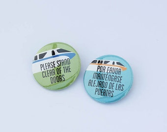 Disney World Monorail 2-Pack Pin-Back buttons or Magnets - Disney World Buttons, Disney World Magnets, Monorail Buttons