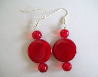 Red mother of pearl like earrings