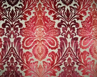 LEE JOFA GP & J Baker Lotus Medallions Ombre Cut Velvet Fabric 10 Yards Burgundy Red