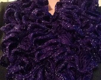 Handmade Purple and Silver Sashay Infinity Ruffle Scarf