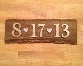 Boda fecha String & arte madera