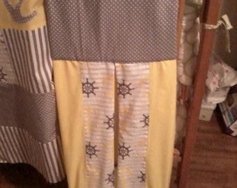 Nautical Diaper stacker, Anchor diaper stacker, Yellow and gray diaper stacker, yellow and gray nautical nursery decor, beach diaper stacker