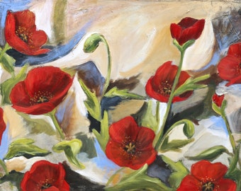Red Spring Poppies - Reproduction Print- Made to Order