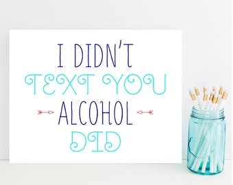 Funny Text Friend Card - Humorous Friendship Card, Alcohol
