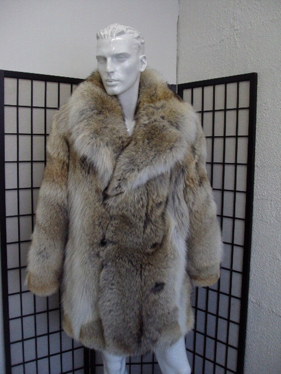 Brand new natural coyote fur jacket coat for men man size all