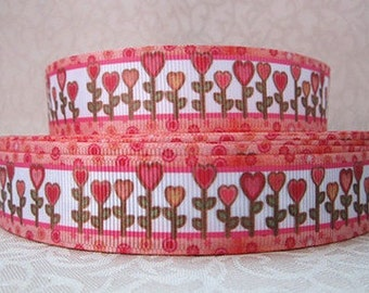 7/8 inch Cute Heart Flower Garden with Border  -  Valentine's day Love Printed Grosgrain Ribbon for Hair Bow