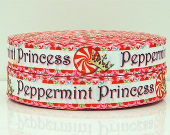 7/8 inch - CHRISTMAS - PEPPERMINT PRINCESS - Printed Grosgrain Ribbon