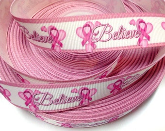 7/8 inch - Believe Breast Cancer Awareness - Pink Ribbon - Printed Grosgrain Ribbon for Hair Bow
