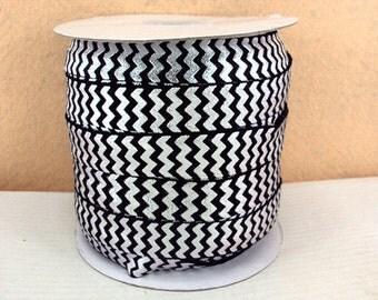 5/8 inch - Silver Chevron on Black - Fold Over Elastic FOE for Headband