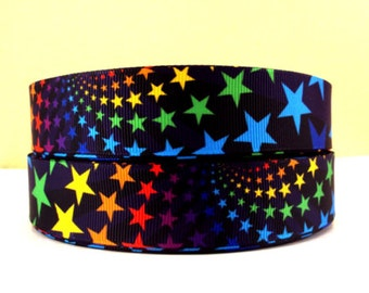1 inch Cutest Colorful Stars on Black  - Printed Grosgrain Ribbon for Hair Bow