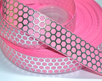 1 inch Silver Net on Light Pink - Printed Grosgrain Ribbon for Hair Bow