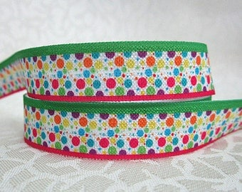 5/8 inch Polka Dto Party - Pink and Green border   Fold Over Elastic for Headband