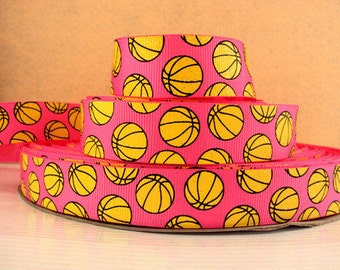 7/8 inch Glitter Yellow Balls on Pink - SPORTS - Printed Grosgrain Ribbon for Hair Bow