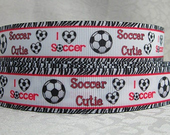 7/8 inch I Love Soccer - Soccer CUTIE - RED FONT - Printed Grosgrain Ribbon for Hair Bow