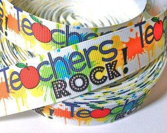 1 inch Teacher's Rock! Teacher - Back to School Printed Grosgrain Ribbon for Hair Bow