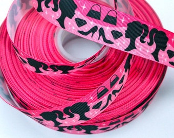 1 inch CUTE DOLL Fashion Diva (hot pink) - Printed Grosgrain Ribbon for Hair Bow