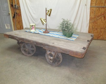 Vintage Factory Cart Industrial Age Coffee Table Cast Iron Wheel Railroad c