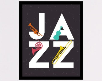 Jazz printable poster wall art decor Jazz digital typography, minimal instant download jazz instruments for home decor and office decor gift