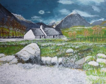 """Large acrylic Scottish highland landscape on canvas painting - Scottish landscape art - """" A winters day at Glencoe """""""