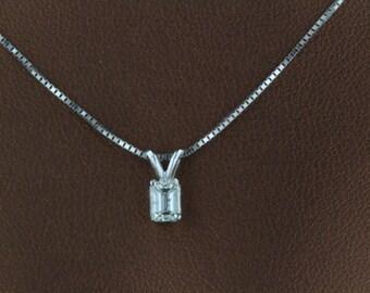 SUPER SALE 0.36CT Natural Diamond F VS2 Emerald Cut 14k White Gold Pendent