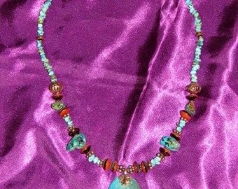 Turquoise, wood bead necklace