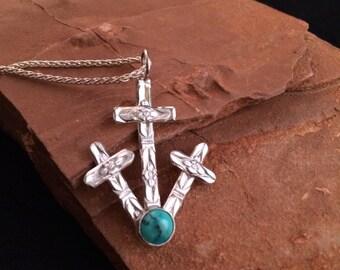 Cruces Crosses Turquoise Pendant
