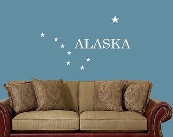 Alaska Flag decal,Alaska State Flag design,Alaska wall decal living room,Alaska State Flag sticker,Alaska decal,Alaska sticker,Alaska native
