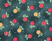 "YARD Fabric Scarborough Faire by Maywood Studio - Cotton flowers - dark green yellow red - 44"" - yardage - half yard - fat quarter - TMB126"