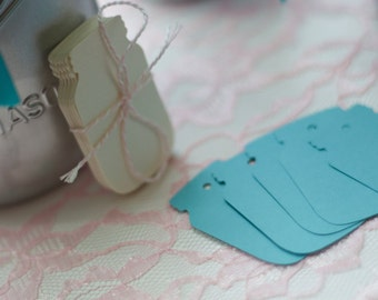 Blue Mason Jar gift Tags, Jar Labels, Favor tags