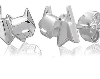 Cat Origami Sterling Silver Stud Earrings
