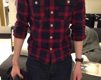 BuFan Handmade men's long-sleeved cotton plaid shirt