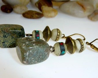 Earrings with a Green Stone and Tibetan Bone Pearls II