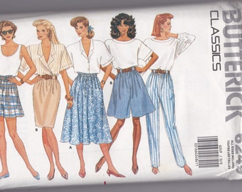 Vintage 1980's Butterick 6249 misses pants,shorts, and skirts